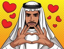 Vector colorful  illustration of Arabic man making sign of heart from his hands. Muslim traditional man showing love. Man from Saudi keep hands close up in Stock Images
