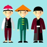Vector colorful illustration of asian boys in national clothes Royalty Free Stock Photos
