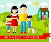 Vector colorful illustration of asian family and house in flat style Royalty Free Stock Photos
