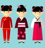 Vector colorful illustration of asian girls in national clothes Stock Photo