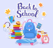 Vector colorful illustration of big backpack, pile of books, ska Stock Photography