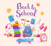 Vector colorful illustration of big collection of many school su Royalty Free Stock Photos