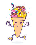 Vector colorful illustration of character ice cream with legs an Stock Photo