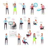 Concept characters surfing the Internet, social networks and online shops. Vector colorful illustration. Concept characters surfing the Internet, social networks Royalty Free Stock Photos