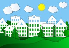 Vector Colorful Illustration of Eco Town, Bright Green Grass and Blue Sky, Paper Background. vector illustration