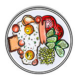 Vector colorful illustration english Breakfast on a plate eggs, sausage, tomato, cucumbers, pea, toast Stock Images