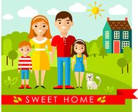 Vector colorful illustration of european family and house in flat style Stock Photo