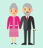 Vector colorful illustration of european,white old pensioner family Royalty Free Stock Photography
