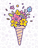 Vector colorful illustration of flower composition in waffle con. E on white pattern background with flower, star, cherry. Summer time concept. Flat style hand Royalty Free Stock Photo