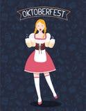 Vector colorful illustration of german full length girl waitress Stock Images