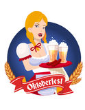 Vector colorful illustration of german girl waitress in traditio Stock Images