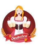 Vector colorful illustration of german girl waitress in traditio. Nal clothes holding yellow beer mugs, ears wheat, red ribbon, text on white background Royalty Free Stock Photography