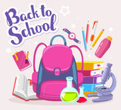 Vector colorful illustration of girl pink backpack with many sch Stock Photos
