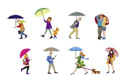 Vector Illustration of going people in rain. Vector colorful illustration of going people in rainy day. Character set Stock Photos