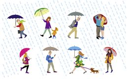 Vector Illustration of going people in rain. Vector colorful illustration of going people in rainy day. Character set Royalty Free Stock Photo