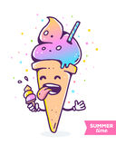 Vector colorful illustration of gradient character ice cream wit Stock Photography