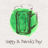Vector colorful illustration of hand drawn sketch of beer mug Stock Images