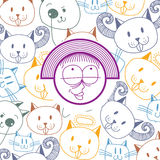 Vector colorful illustration of happy smiling cartoon girl isola Stock Photography