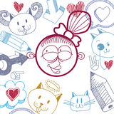 Vector colorful illustration of happy smiling cartoon girl Royalty Free Stock Photography