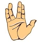 Realistic salute vulcan hand gesture icon graphic Stock Photo
