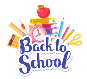 Vector colorful illustration of inscription back to school  Royalty Free Stock Images