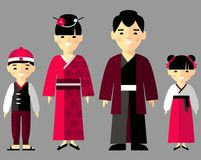 Vector colorful illustration of japanese family in national clothes Royalty Free Stock Image