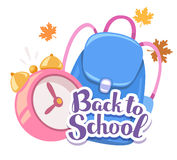 Vector colorful illustration of pink alarm clock, blue backpack, Stock Photos