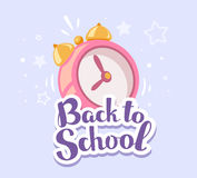Vector colorful illustration of pink alarm clock with inscription Stock Images