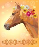 Horse portrait with flowers. Vector colorful illustration. Portrait of chestnut horse with different flowers in mane isolated on orange gradient background with vector illustration