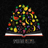 Vector colorful illustration of smoothie recipe cookbook in flat Royalty Free Stock Photography