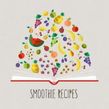 Vector colorful illustration of smoothie recipe cookbook in flat Royalty Free Stock Image