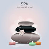 Vector colorful illustration of spa with flower, candles Stock Photos