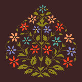 Vector colorful illustration symmetric blooming plant with flowers and leaf Stock Images