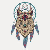 Vector colorful illustration of tribal style wolf with ethnic ornaments and dream catcher. American indian motifs. Totem tattoo. Boho design stock illustration