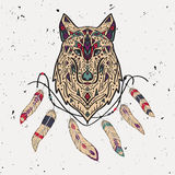 Vector colorful illustration of tribal style wolf with ethnic ornaments, feathers, threads Royalty Free Stock Photos