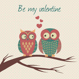 Vector colorful illustration with two owls in love. Sitting on a branch. Can be used for Valentine`s Day, wedding Royalty Free Stock Images