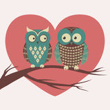 Vector colorful illustration with two owls in love. Sitting on a branch. Can be used for Valentine`s Day, wedding Royalty Free Stock Image