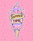 Vector colorful illustration of very high ice cream with inscrip. Tion on pink pattern background with flower, star, cherry. Summer time concept. Flat style hand Stock Photos