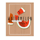 Vector colorful illustration of watermelon slices in flat design Stock Image