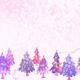 Vector colorful illustration of winter forest landscape Royalty Free Stock Image