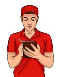 Vector colorful illustration of a young guy in a delivery uniform with a pen and notebook. A fast food worker in a red uniform makes notes about the order Vector Illustration