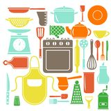 Vector colorful kitchen icons set. Flat style cooking elements. vector illustration