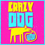 Vector colorful label - Crazy Dog Stock Photography