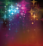 Vector colorful lights and stars  background. Royalty Free Stock Images