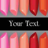 Vector colorful lipstick label board Royalty Free Stock Photo