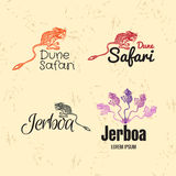 Vector colorful logo set with desert Jerboa. Vector colorful set with desert Jerboa. The Jerboa as main element of logotypes on beige background. Engraves Royalty Free Stock Image