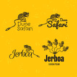 Vector colorful logo set with desert Jerboa. Vector colorful set with desert Jerboa. The Jerboa as main element of logotypes on yellow background. Engraves Stock Images