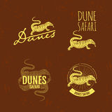 Vector colorful logo set with desert Varan Stock Images