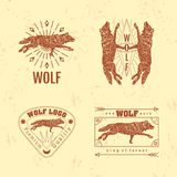 Vector colorful logo set with forest wolf Royalty Free Stock Photos