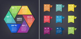 Vector colorful loop infographic. Template for diagram, graph, presentation and chart. paper flag stickers and labels Royalty Free Stock Photography